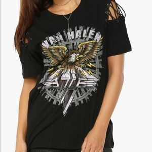 Can Halen Lace up Graphic Band T-shirt Tee Top